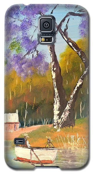 Galaxy S5 Case featuring the painting Jacaranda Tree by Pamela  Meredith