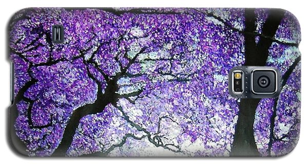 Galaxy S5 Case featuring the painting Jacarandas By The River by Marie-Line Vasseur