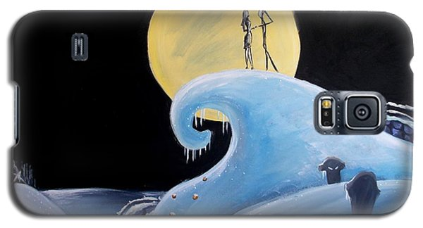 Galaxy S5 Case featuring the painting Jack And Sally Snowy Hill by Marisela Mungia
