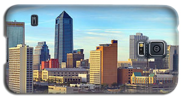 Galaxy S5 Case featuring the photograph Jacksonville Skyline Morning Day Color Panorama Florida by Jon Holiday