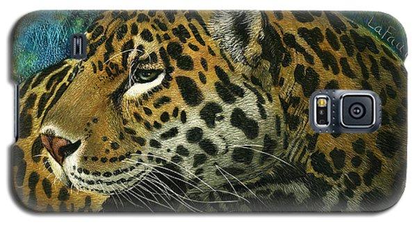 Galaxy S5 Case featuring the mixed media Jaguar by Sandra LaFaut