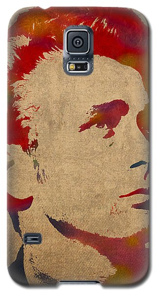 James Dean Watercolor Portrait On Worn Distressed Canvas Galaxy S5 Case by Design Turnpike