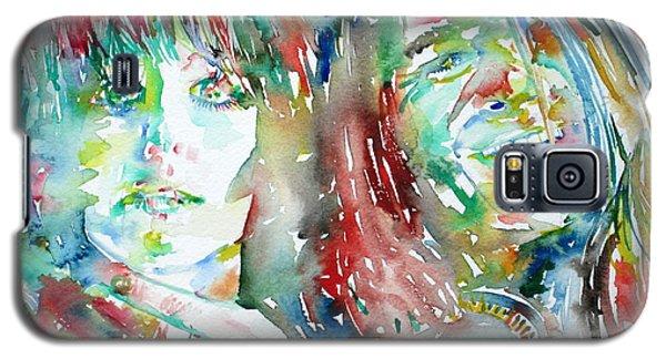 Janis Joplin And Grace Slick Watercolor Portrait.1 Galaxy S5 Case by Fabrizio Cassetta