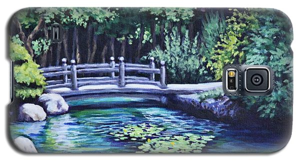 Galaxy S5 Case featuring the painting Japanese Garden Bridge San Francisco California by Penny Birch-Williams
