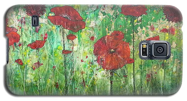 Galaxy S5 Case featuring the painting Java Poppy Field by Christy  Freeman