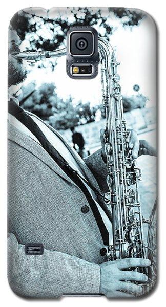 Jazz Musician Busker Playing Saxophone Galaxy S5 Case