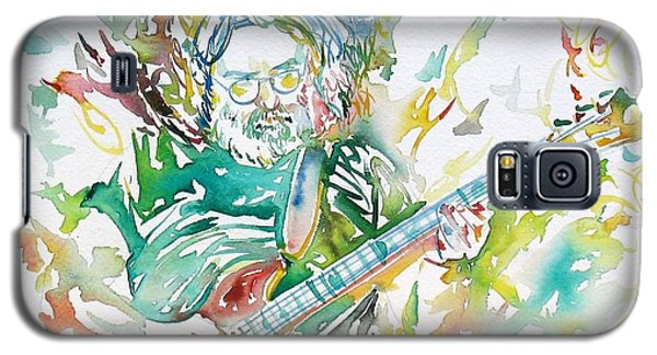 Jerry Garcia Playing The Guitar Watercolor Portrait.1 Galaxy S5 Case by Fabrizio Cassetta