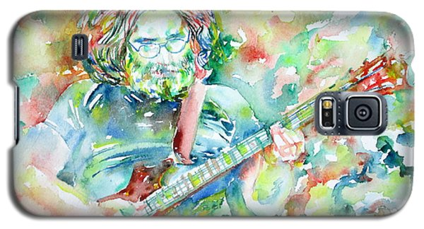 Jerry Garcia Playing The Guitar Watercolor Portrait.3 Galaxy S5 Case by Fabrizio Cassetta