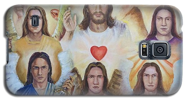 Galaxy S5 Case featuring the painting Jesus And Angels Cm by Rose Wang