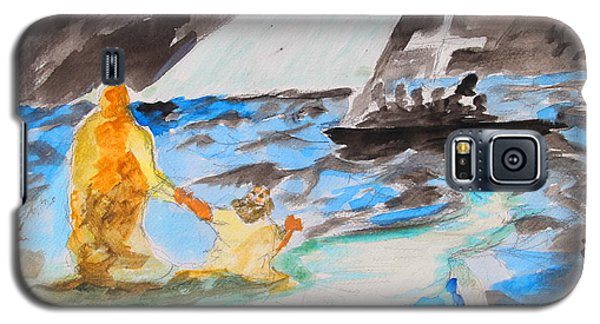 Galaxy S5 Case featuring the painting Jesus Saving Peter - Painting by Thomas Bertram POOLE
