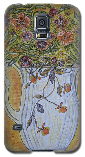 Galaxy S5 Case featuring the painting Jewel Tea Pitcher With Marigolds by Kathy Marrs Chandler