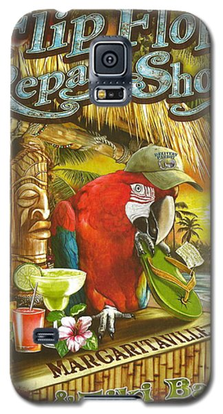 Parrot Galaxy S5 Case - Jimmy Buffett's Flip Flop Repair Shop by Desiderata Gallery