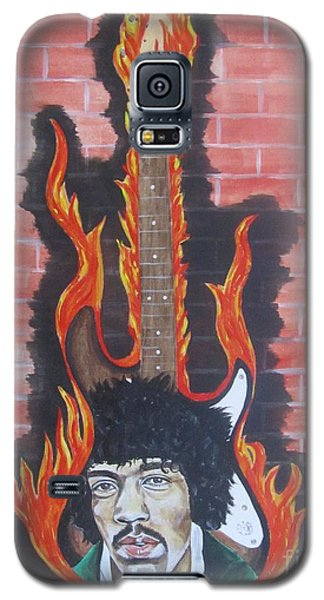Galaxy S5 Case featuring the painting Jimmy Hendrix And Guitar by Jeepee Aero