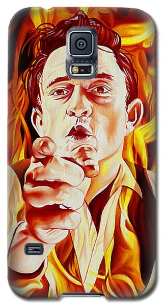 Galaxy S5 Case featuring the painting Johnny Cash And It Burns by Joshua Morton