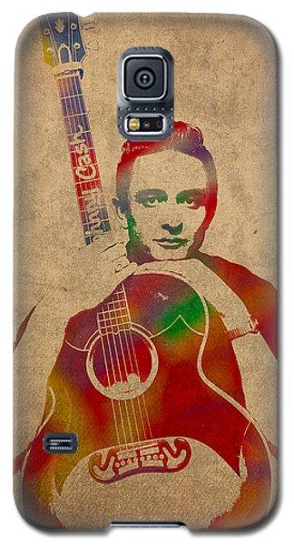 Johnny Cash Watercolor Portrait On Worn Distressed Canvas Galaxy S5 Case