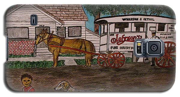 Galaxy S5 Case featuring the painting Johnsons Milk Wagon Pulled By A Horse  by Kathy Marrs Chandler