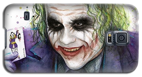 Joker Watercolor Portrait Galaxy S5 Case by Olga Shvartsur