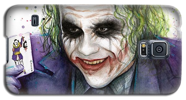 Bat Galaxy S5 Case - Joker Watercolor Portrait by Olga Shvartsur