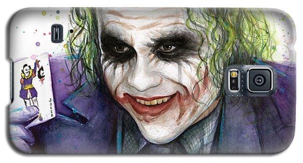 Joker Watercolor Portrait Galaxy S5 Case by Olga Shvartsur