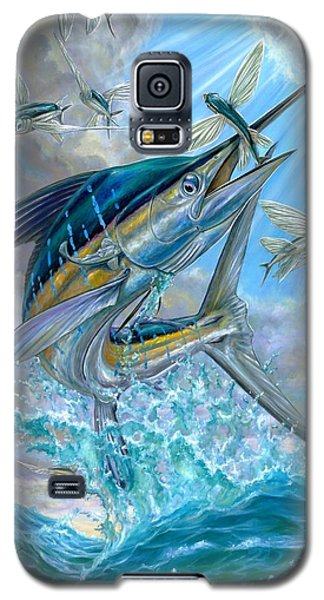 Jumping White Marlin And Flying Fish Galaxy S5 Case