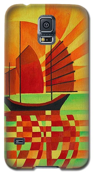 Galaxy S5 Case featuring the painting Junk On A Sea Of Green by Tracey Harrington-Simpson