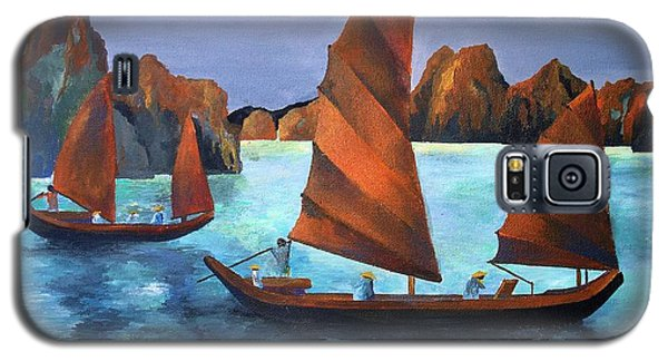 Galaxy S5 Case featuring the painting Junks In The Descending Dragon Bay by Tracey Harrington-Simpson