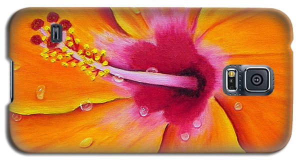 Galaxy S5 Case featuring the painting Just Peachy - Hibiscus Flower  by Shelia Kempf