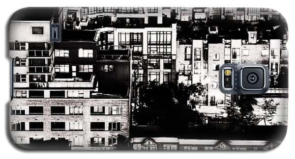 Galaxy S5 Case featuring the photograph Black And White - Juxtaposed And Intimate Vancouver View At Night - Fineart Cards by Amyn Nasser