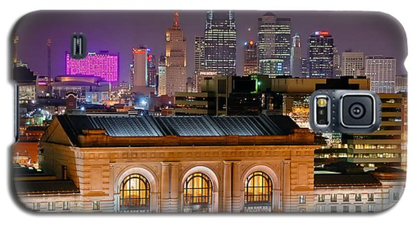 Kansas City Skyline At Night Kc Downtown Color Panorama Galaxy S5 Case by Jon Holiday