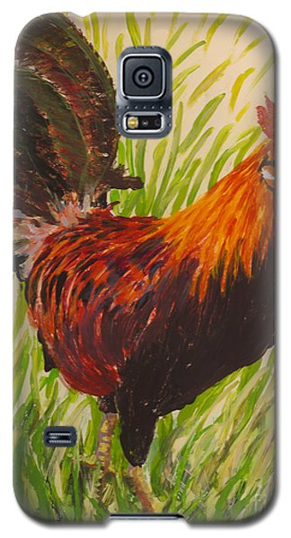 Galaxy S5 Case featuring the painting Kauai Rooster by Anna Skaradzinska