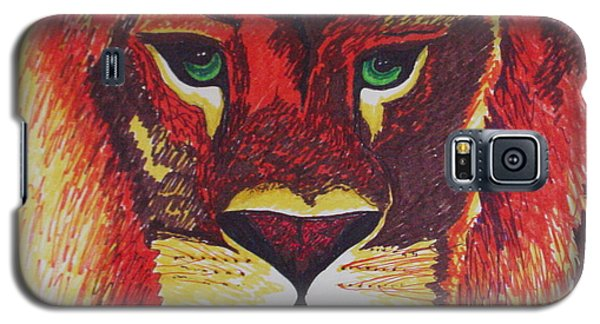 Lion In Orange Galaxy S5 Case