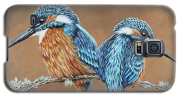 Galaxy S5 Case featuring the painting Kingfishers by Jane Girardot