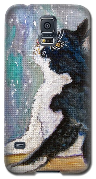 Galaxy S5 Case featuring the painting Kitten In The Window by Ella Kaye Dickey