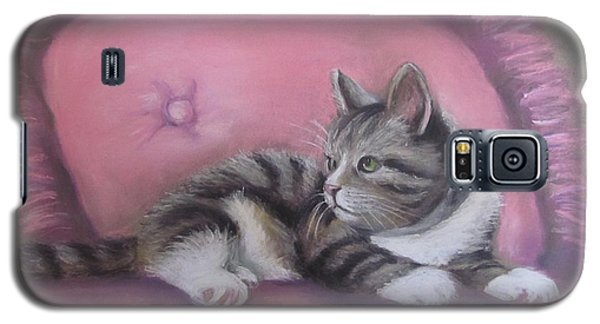Galaxy S5 Case featuring the painting Kitten On Pink Pillow by Melinda Saminski
