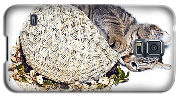 Galaxy S5 Case featuring the photograph Kitten With An Easter Bonnet by Susan Leggett