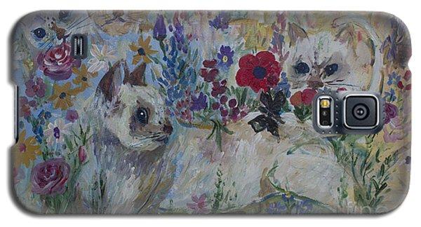 Kittens In Wildflowers Galaxy S5 Case by Avonelle Kelsey