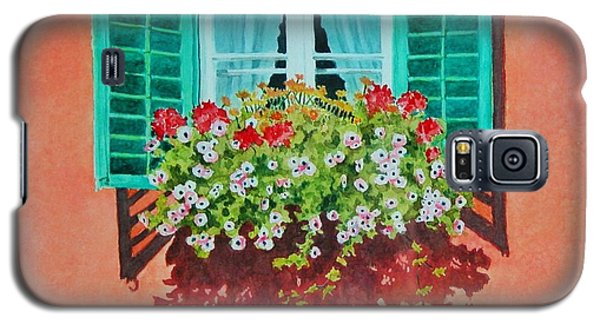 Galaxy S5 Case featuring the painting Kitzbuhel Window by Mary Ellen Mueller Legault