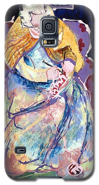 Knitting With Kitty Galaxy S5 Case by Marilyn Jacobson