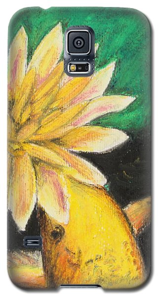 Galaxy S5 Case featuring the painting Koi And The Lotus Flower by Jeanne Fischer