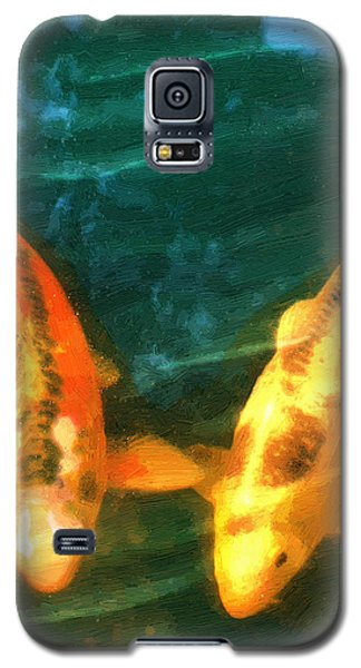 Galaxy S5 Case featuring the painting Koi Friends by Doug Kreuger