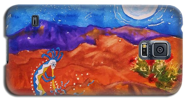 Kokopelli Playing To The Moon Galaxy S5 Case by Ellen Levinson
