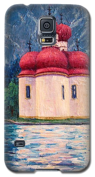 Galaxy S5 Case featuring the painting Konigsee Church by Cheryl Del Toro