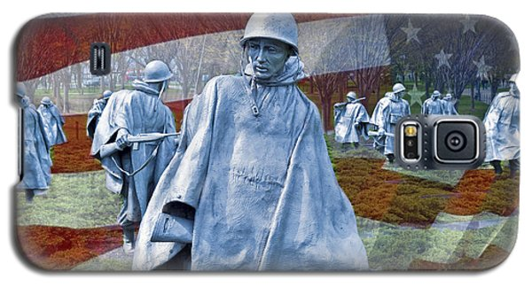 Korean War Veterans Memorial Bronze Sculpture American Flag Galaxy S5 Case by David Zanzinger