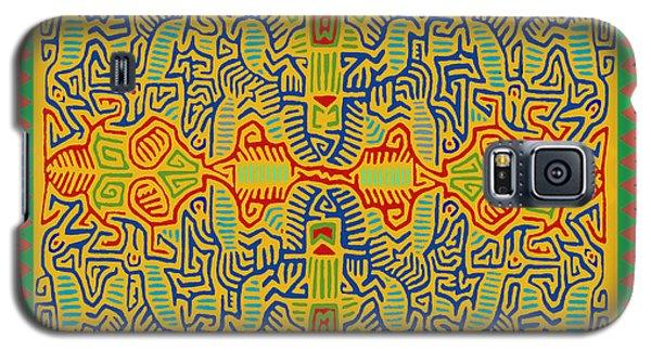Galaxy S5 Case featuring the digital art Kuna Bird Spirits by Vagabond Folk Art - Virginia Vivier