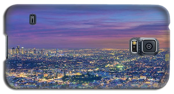 La Fiery Sunset Cityscape Skyline Galaxy S5 Case by David Zanzinger