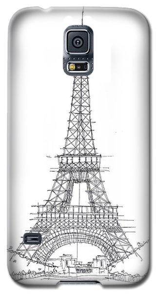 Galaxy S5 Case featuring the drawing La Tour Eiffel Sketch by Calvin Durham