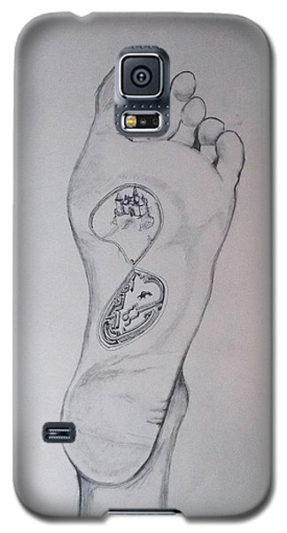 Galaxy S5 Case featuring the drawing Labyrinth Foot Pie Laberinto by Lazaro Hurtado