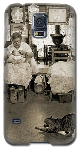 Galaxy S5 Case featuring the photograph Lace Lady Of Burano-bw by Jennie Breeze