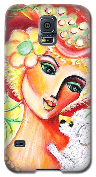 Galaxy S5 Case featuring the painting Lady And Bijon by Anya Heller