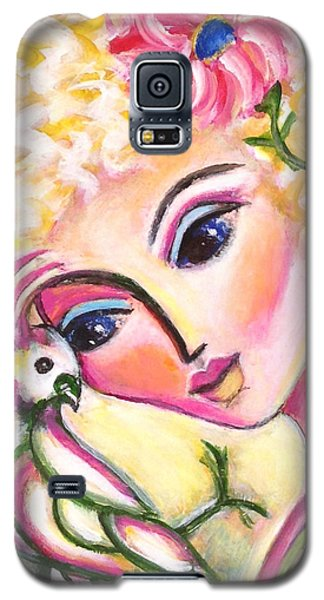 Galaxy S5 Case featuring the painting Lady And Cockatiel by Anya Heller